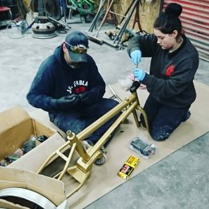 Team effort on a custom BMX pit-bike build
